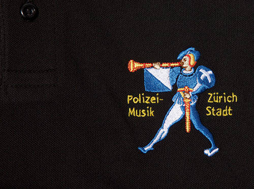 """Poloshirt mit Stickerei """"Polizeimusik Zürich Stadt"""""""