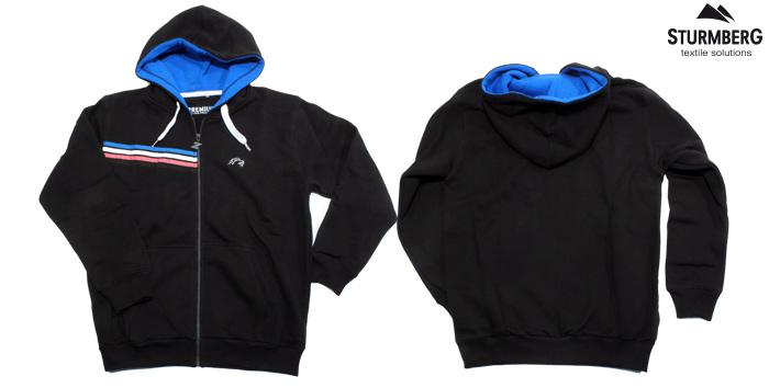 Kapuzenpullover, hoodie, ziphoodie, applikation, siebdruck, reissverschluss, stickerei, gewobenes label, zsc eishockey, sturmberg