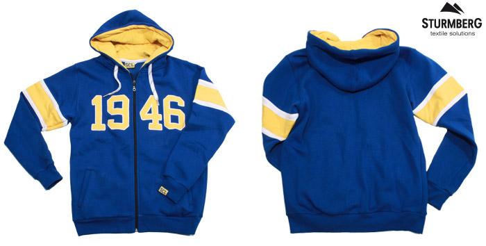 Kapuzenpullover, hoodie, ziphoodie, applikation, siebdruck, reissverschluss, stickerei, gewobenes label, scl tigers, eishockey, sturmberg