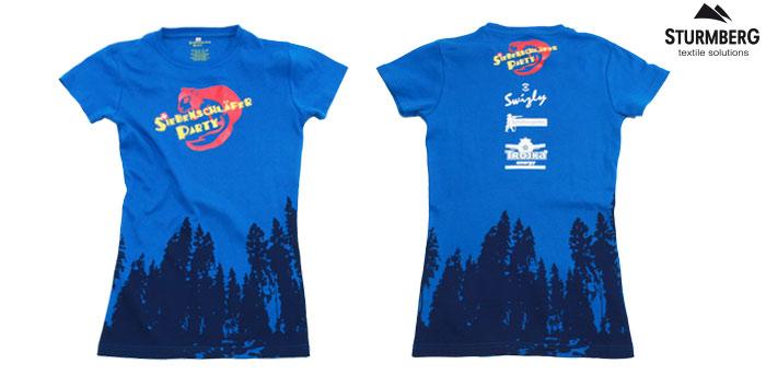 t-shirt bedrucken schweiz siebdruck blau siebenschläfer party swizly schützengarten trojka sturmberg