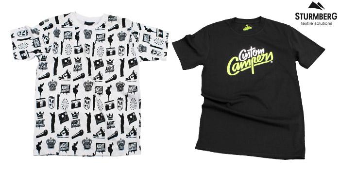 t-shirt bedrucken schweiz siebdruck custom campers aightgenossen alloverprint necklabel weiss schwarz